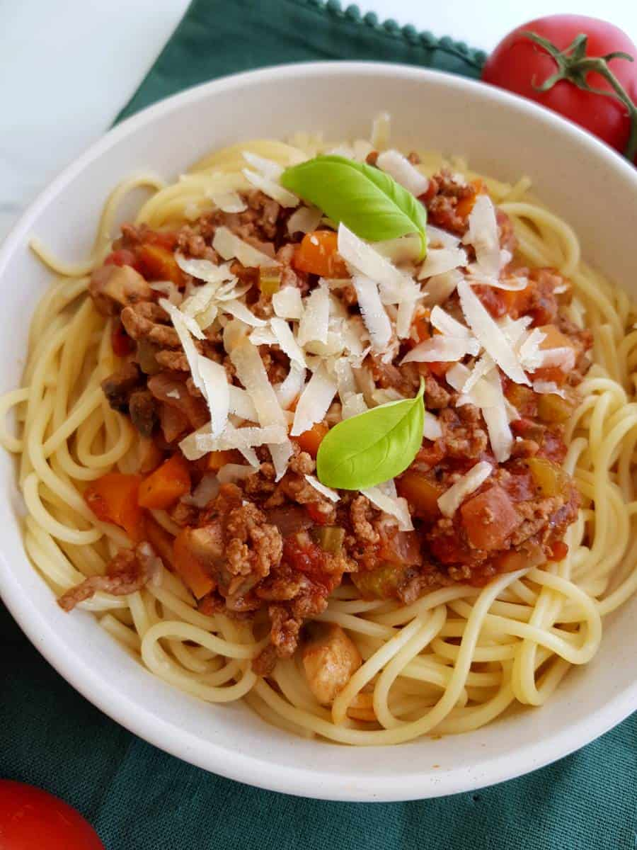 Bolognese with veggies.