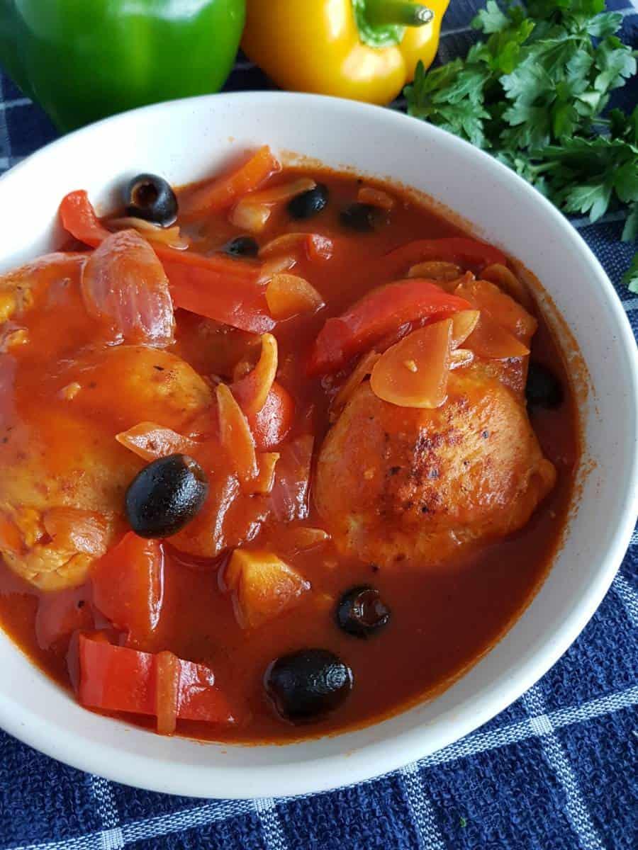 Chicken and olive stew.
