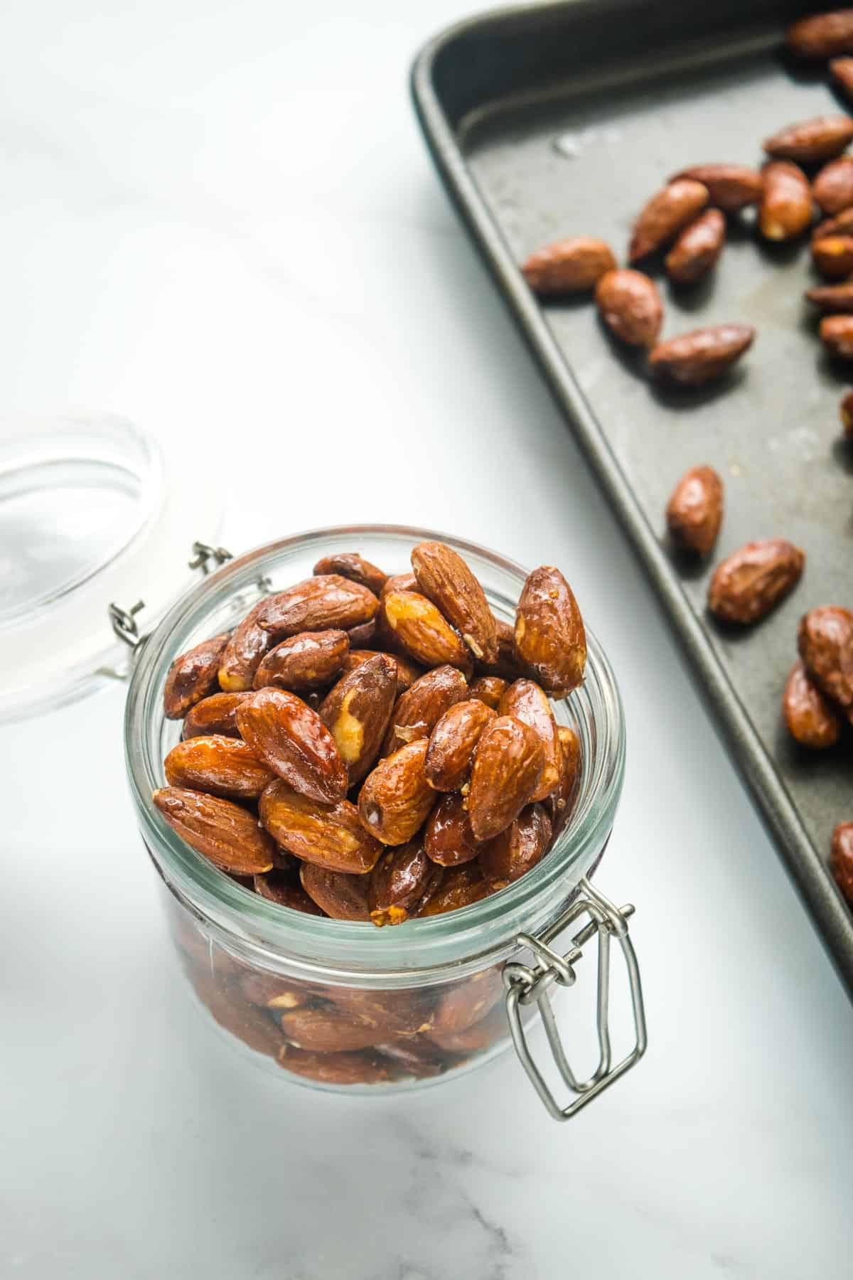 Almonds in a jar.