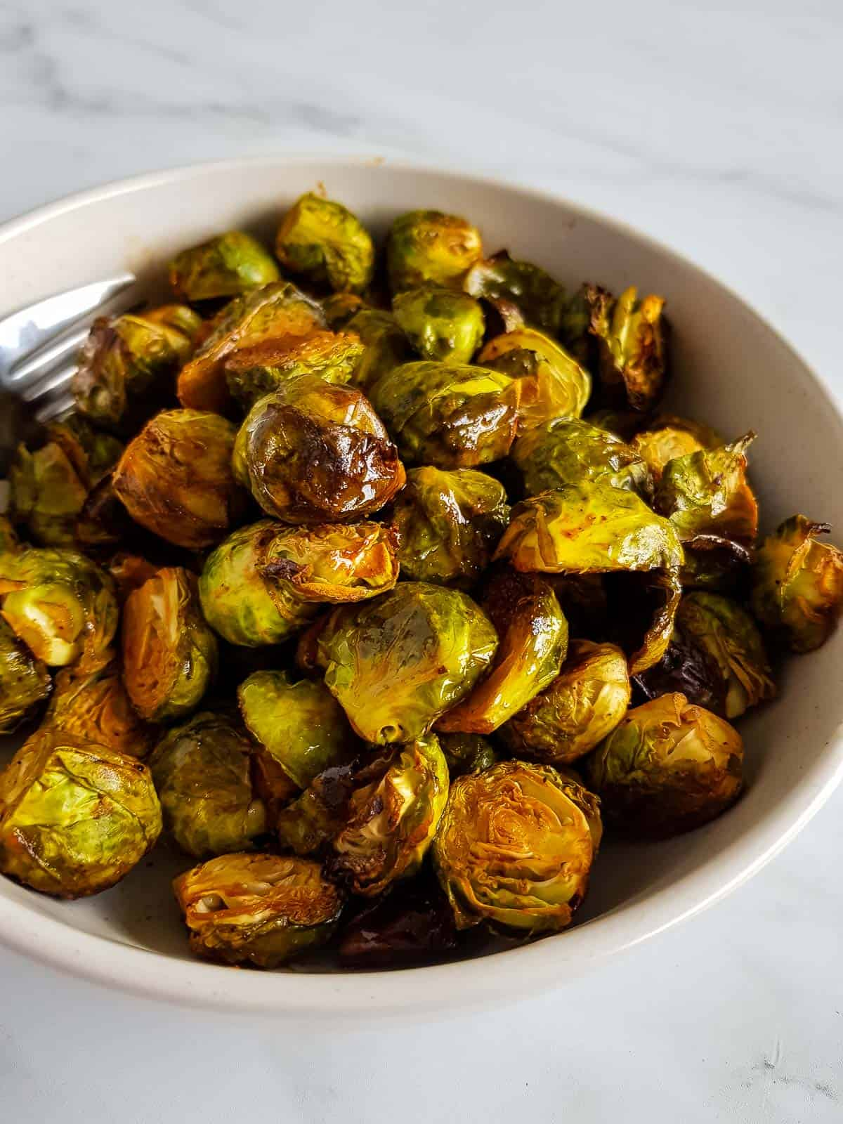 Brussels sprouts with sriracha and honey.