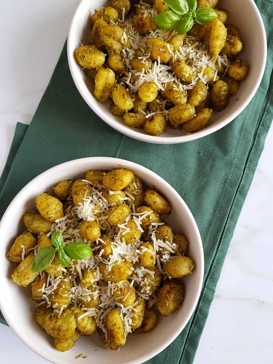 Italian gnocchi with pesto.