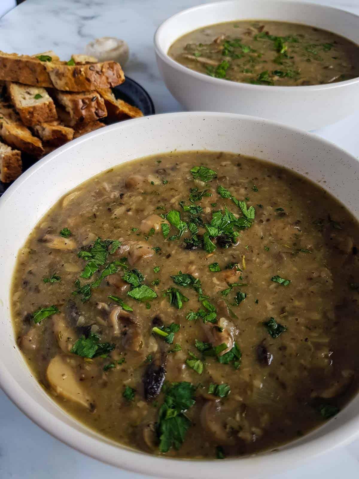 Close up of a rich mushroom soup.