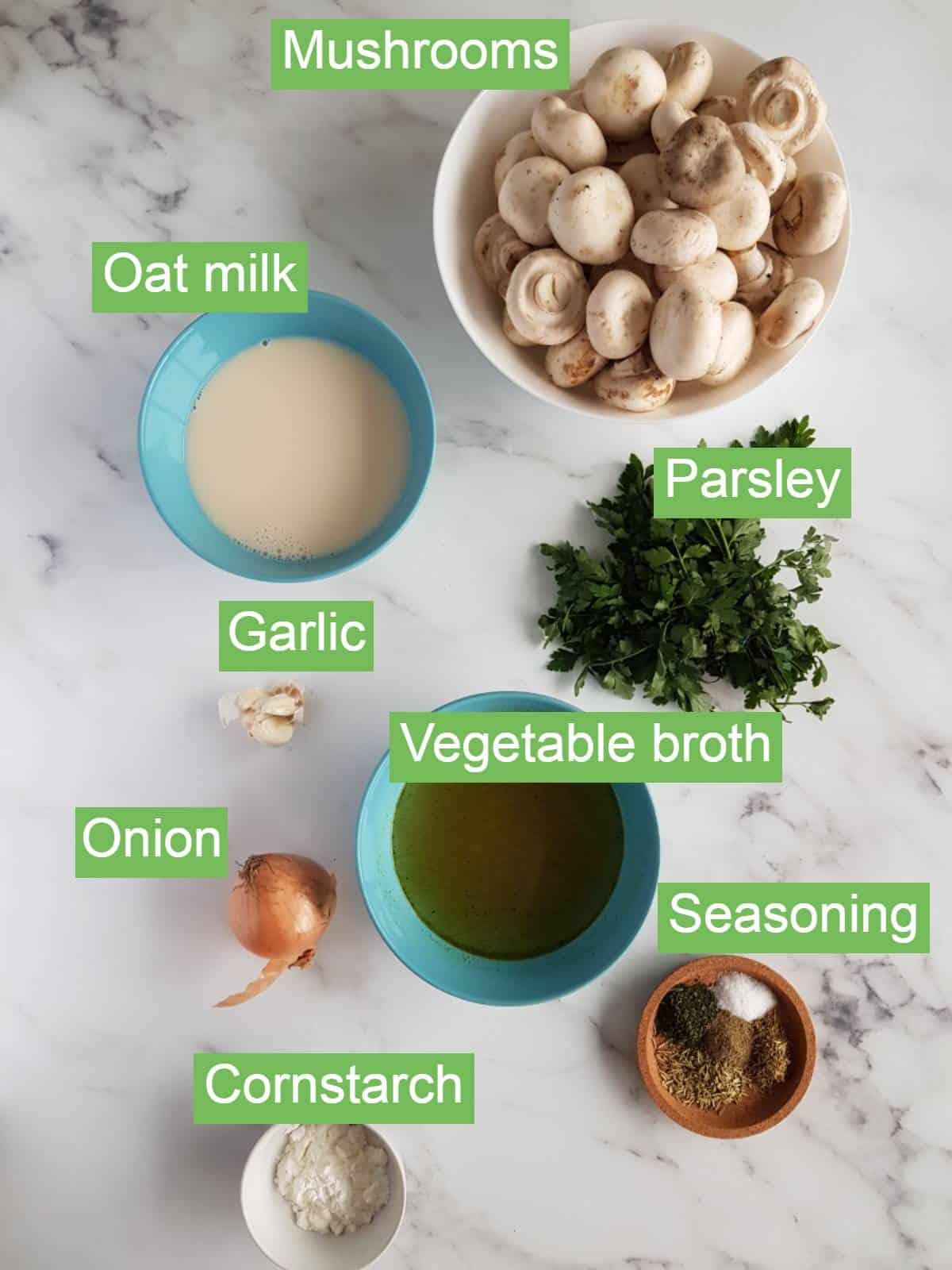 Mushroom soup ingredients.