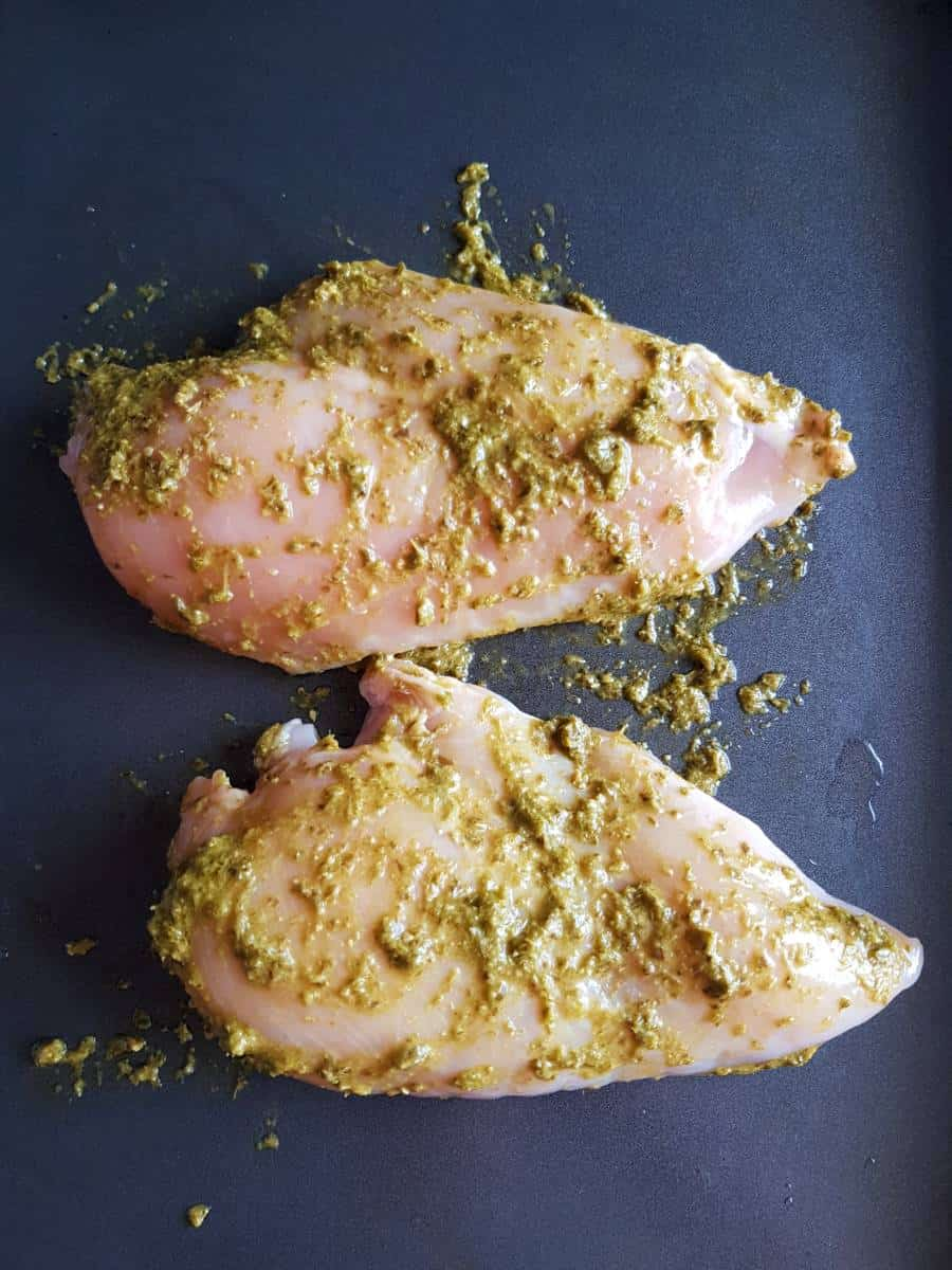 Pesto chicken fillets.