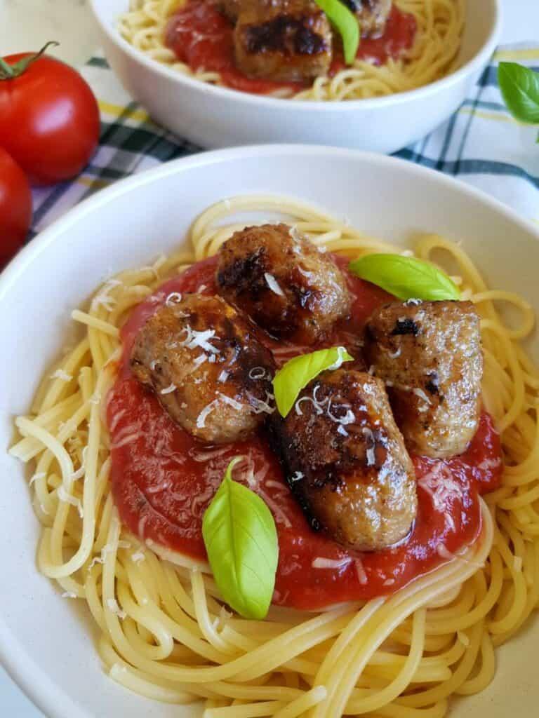 Sausage meatball pasta.