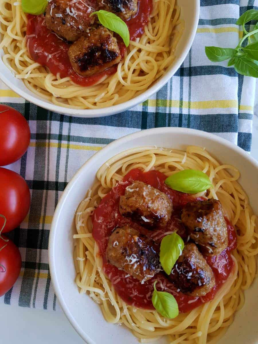 Spaghetti with sausage meatballs.