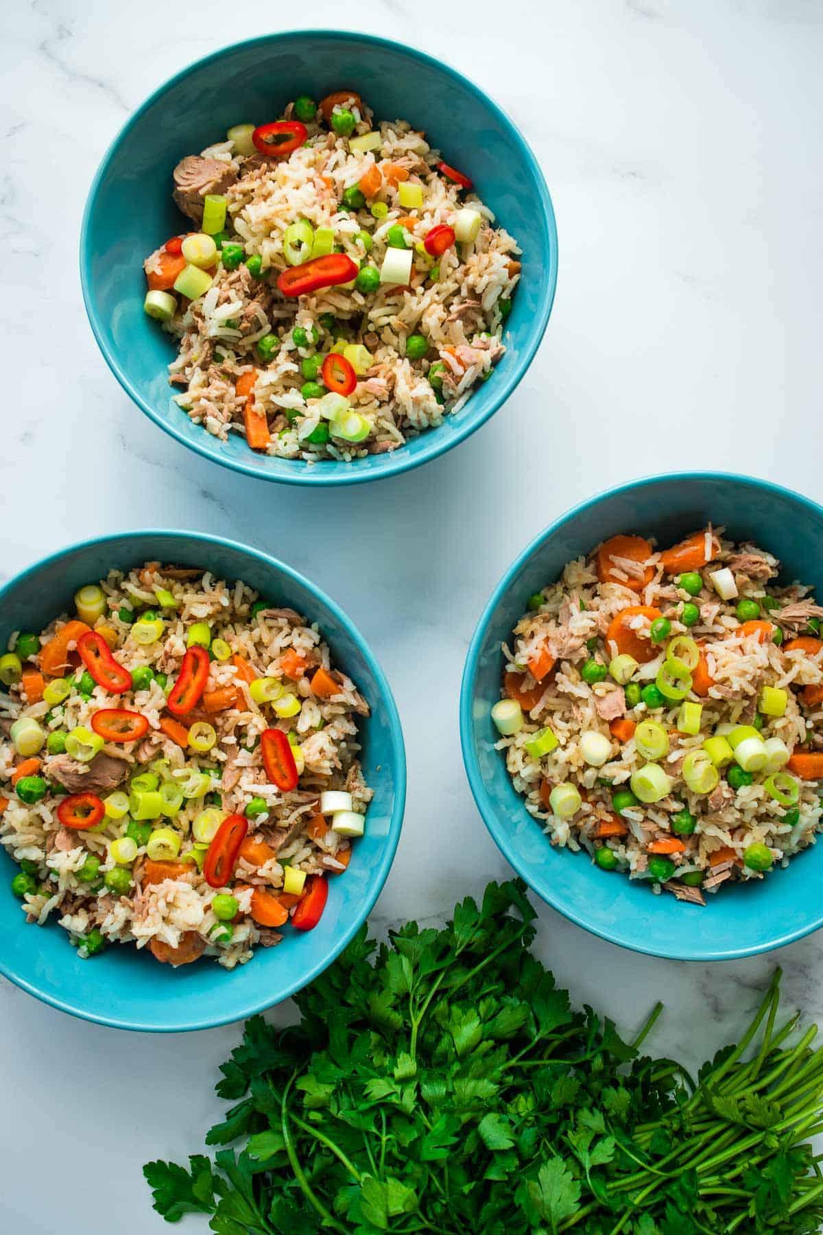 Colorful fried rice with tuna.