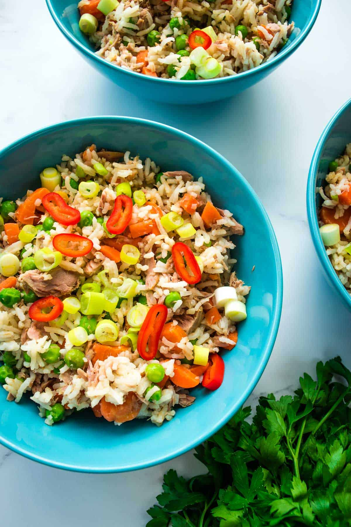 Fried rice in blue bowls.