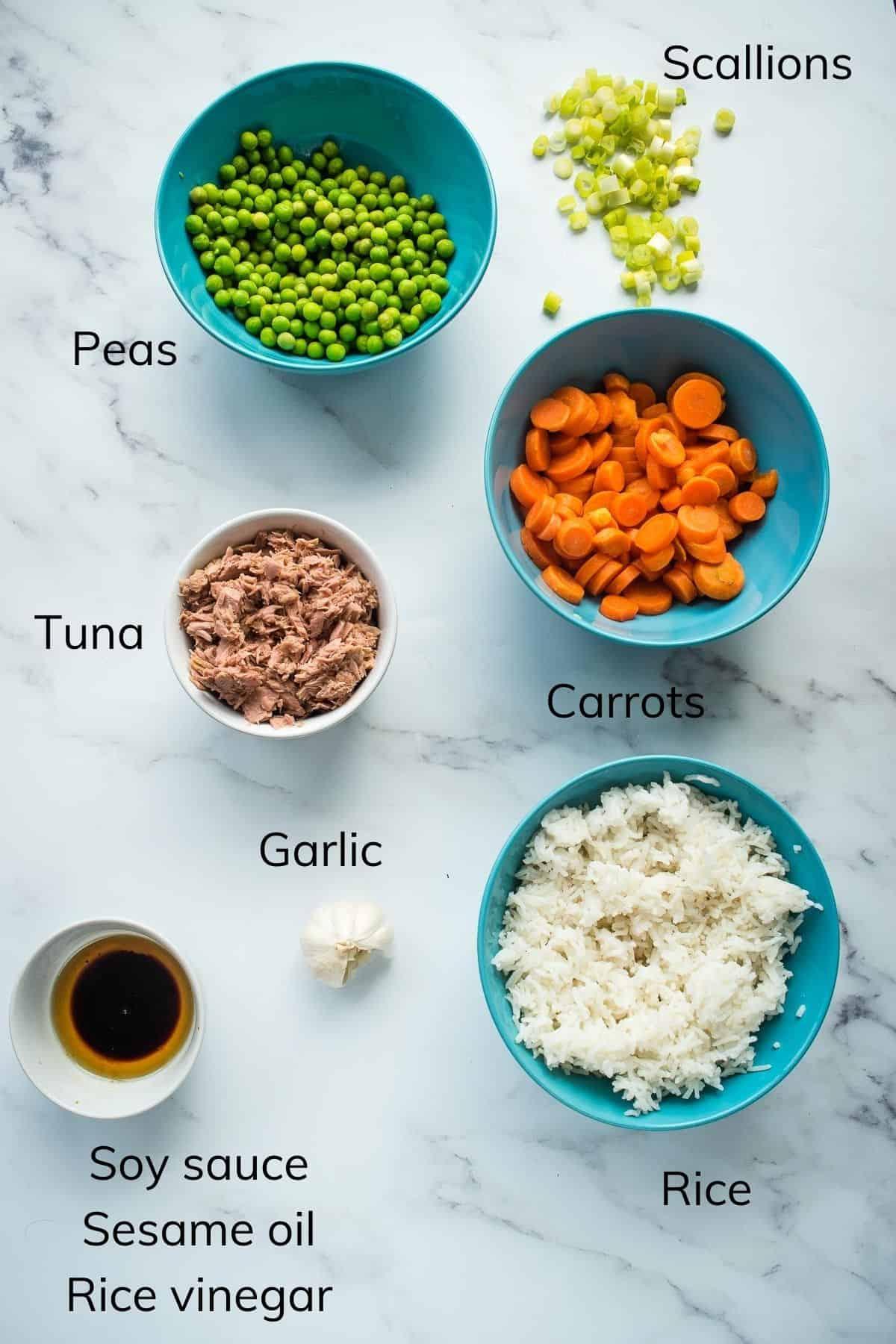Tuna Fried Rice Ingredients.