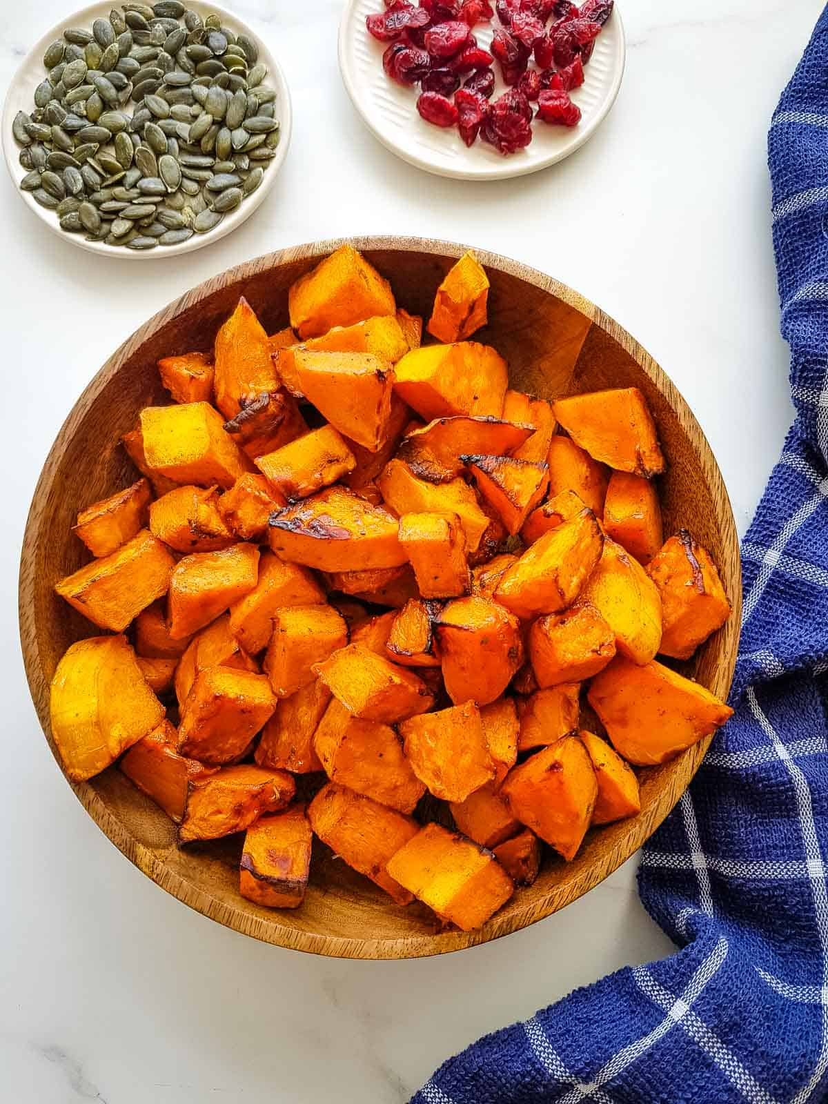 Air fried butternut squash in a bowl.