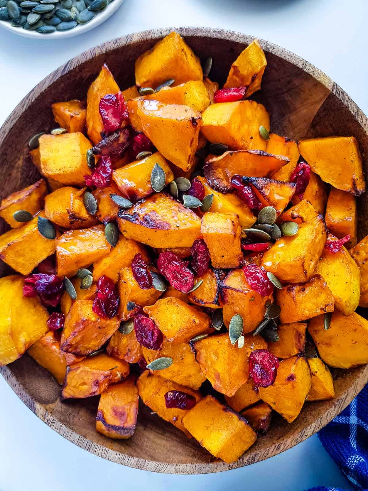Close up of roasted squash chunks.