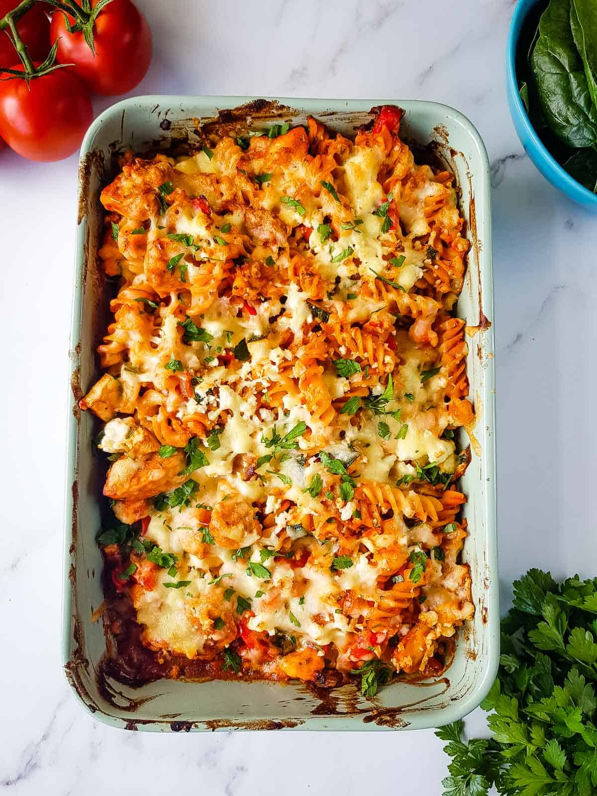Chicken and Bacon Pasta Bake in a baking dish.