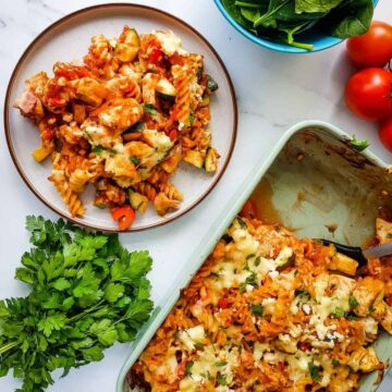 Chicken and Bacon Pasta Bake.