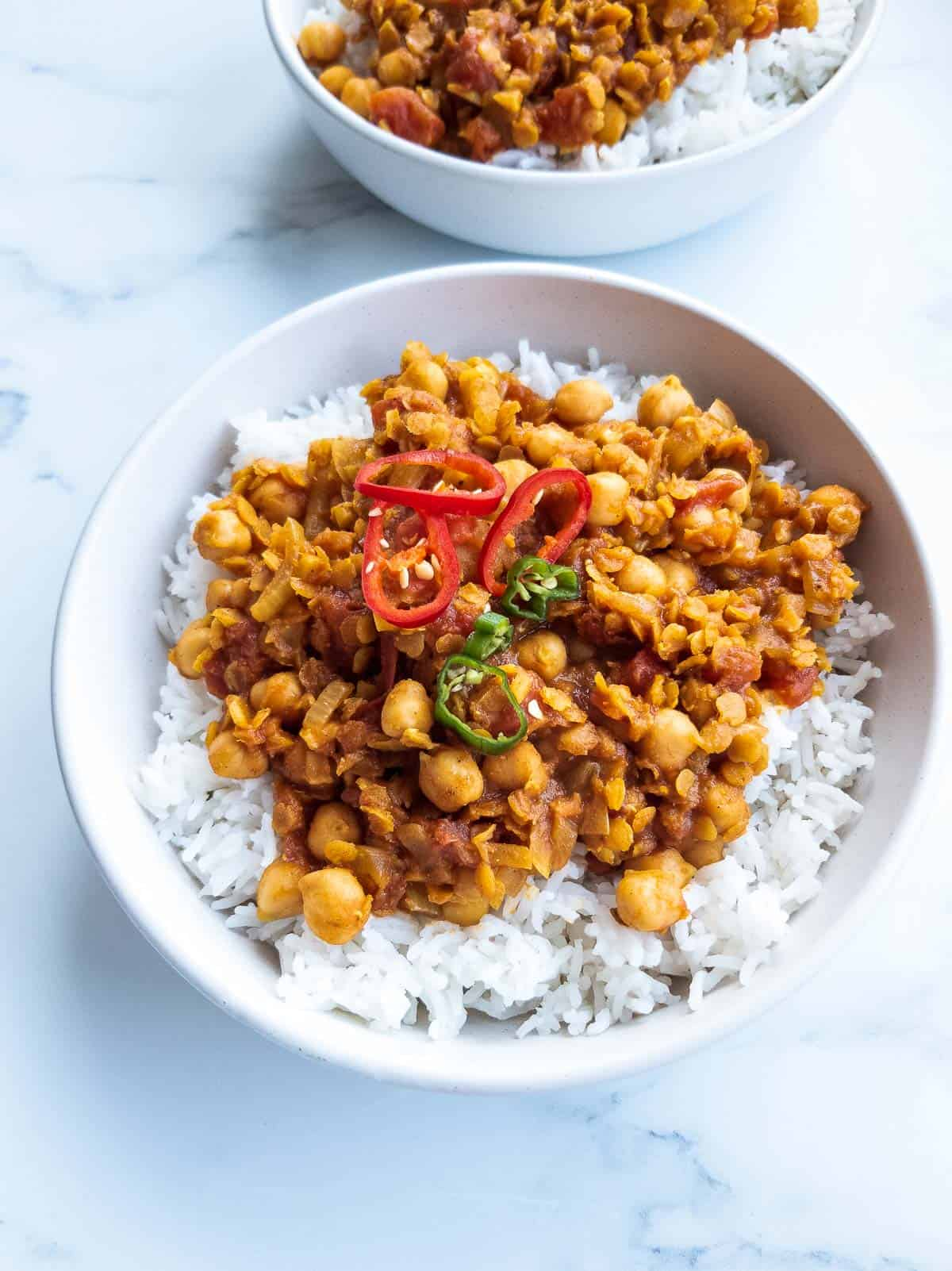Chickpea and lentil curry over rice.