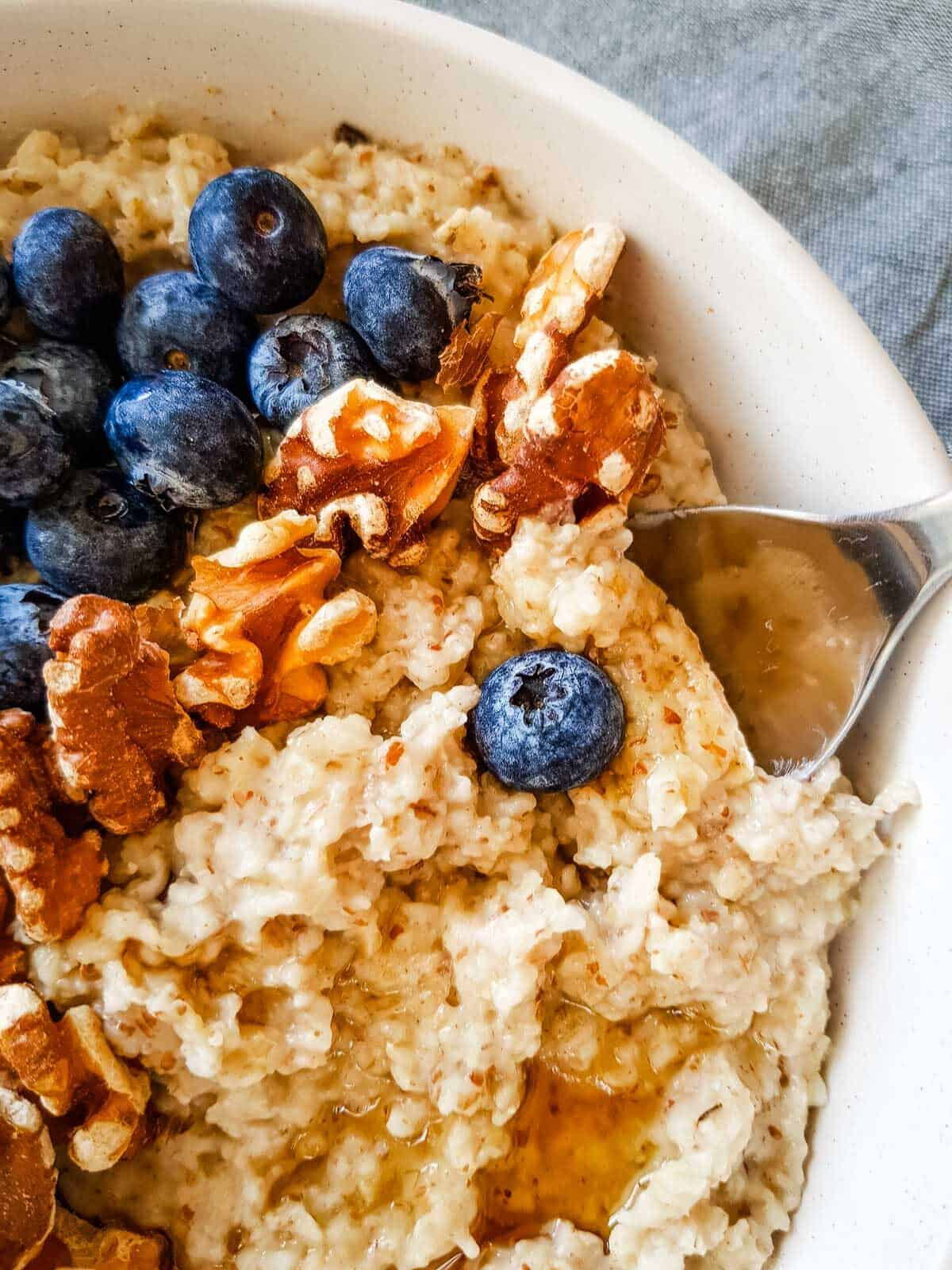A spoonful of oatmeal.