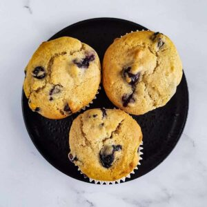 Healthy Lemon Blueberry Muffins.