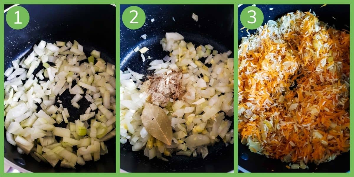 Step by step images of how to cook the dish.