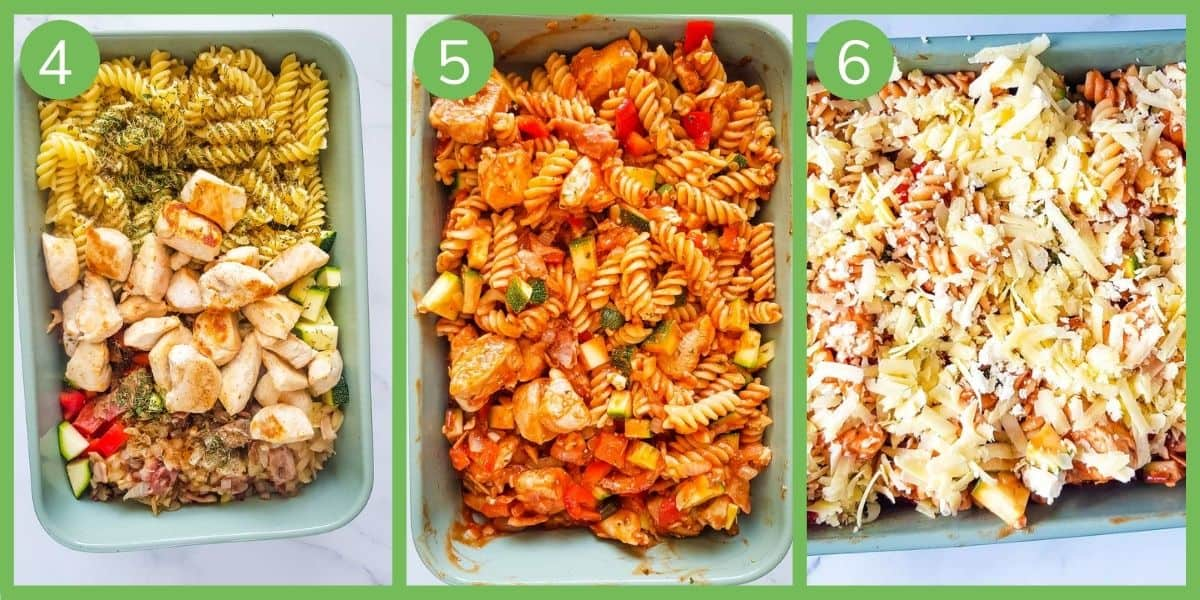Step by step how to make bacon and chicken pasta bake.