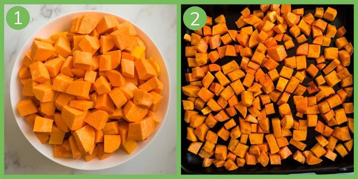 How to make Pumpkin and Sweet Potato Soup.