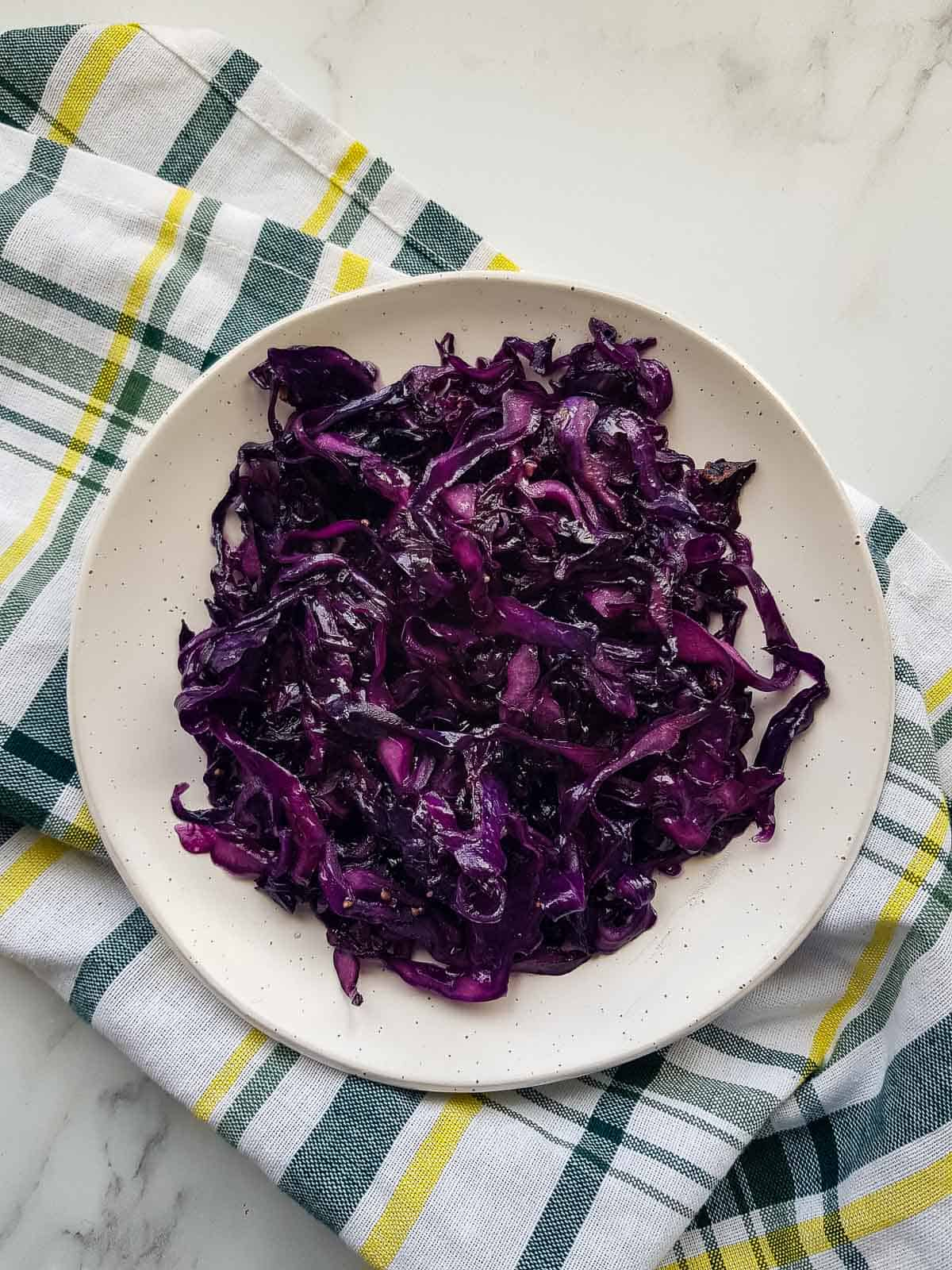 Plated braised red cabbage.
