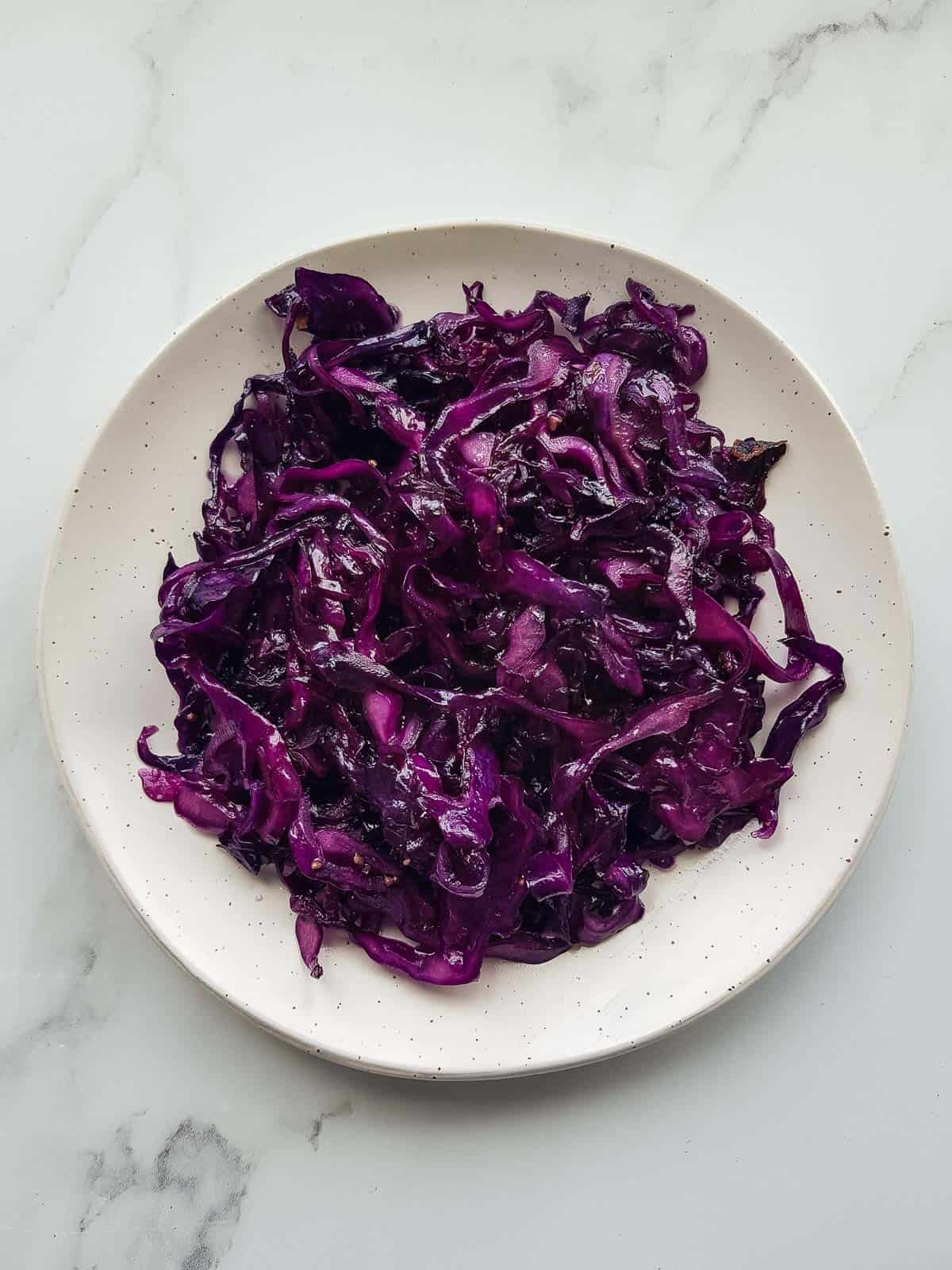 Sauteed red cabbage on a plate.