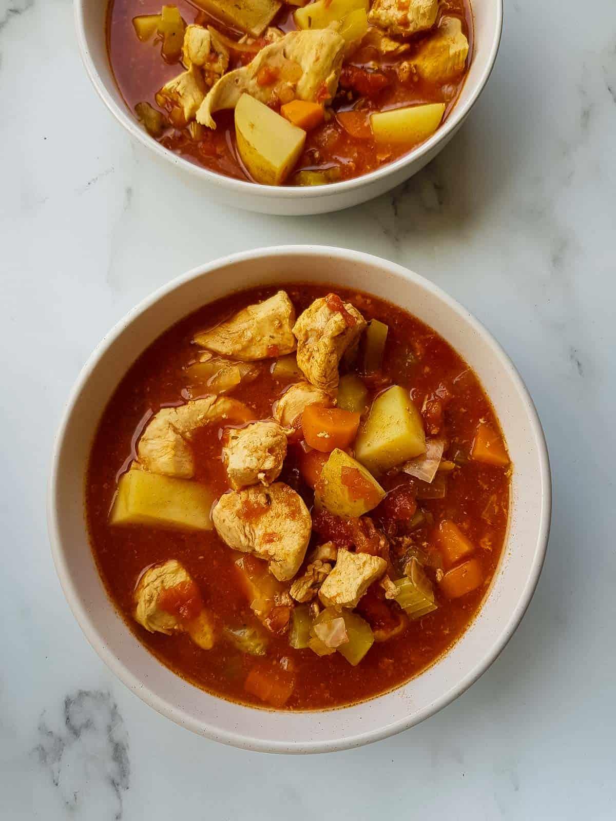 Chicken stew in bowls.