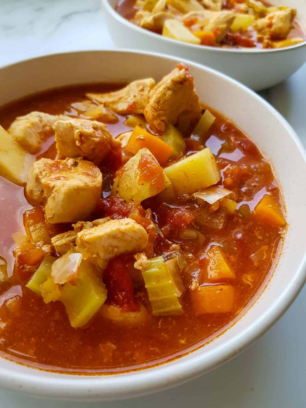 Chicken stew with tomatoes, potatoes, carrots and celery.