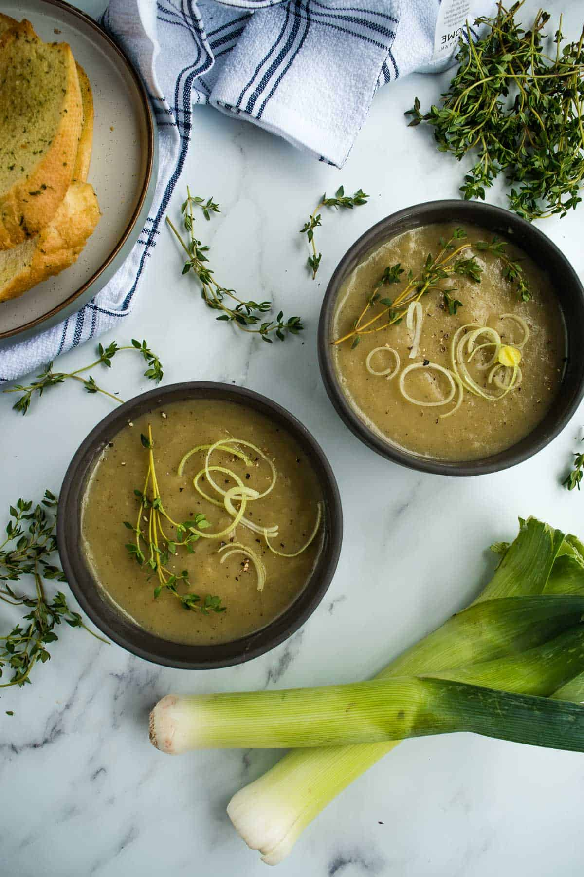 Leek and potato soup in bowls.