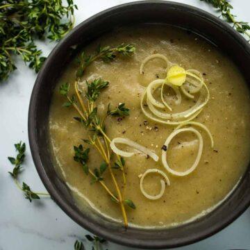 Slow Cooker Leek and Potato Soup.