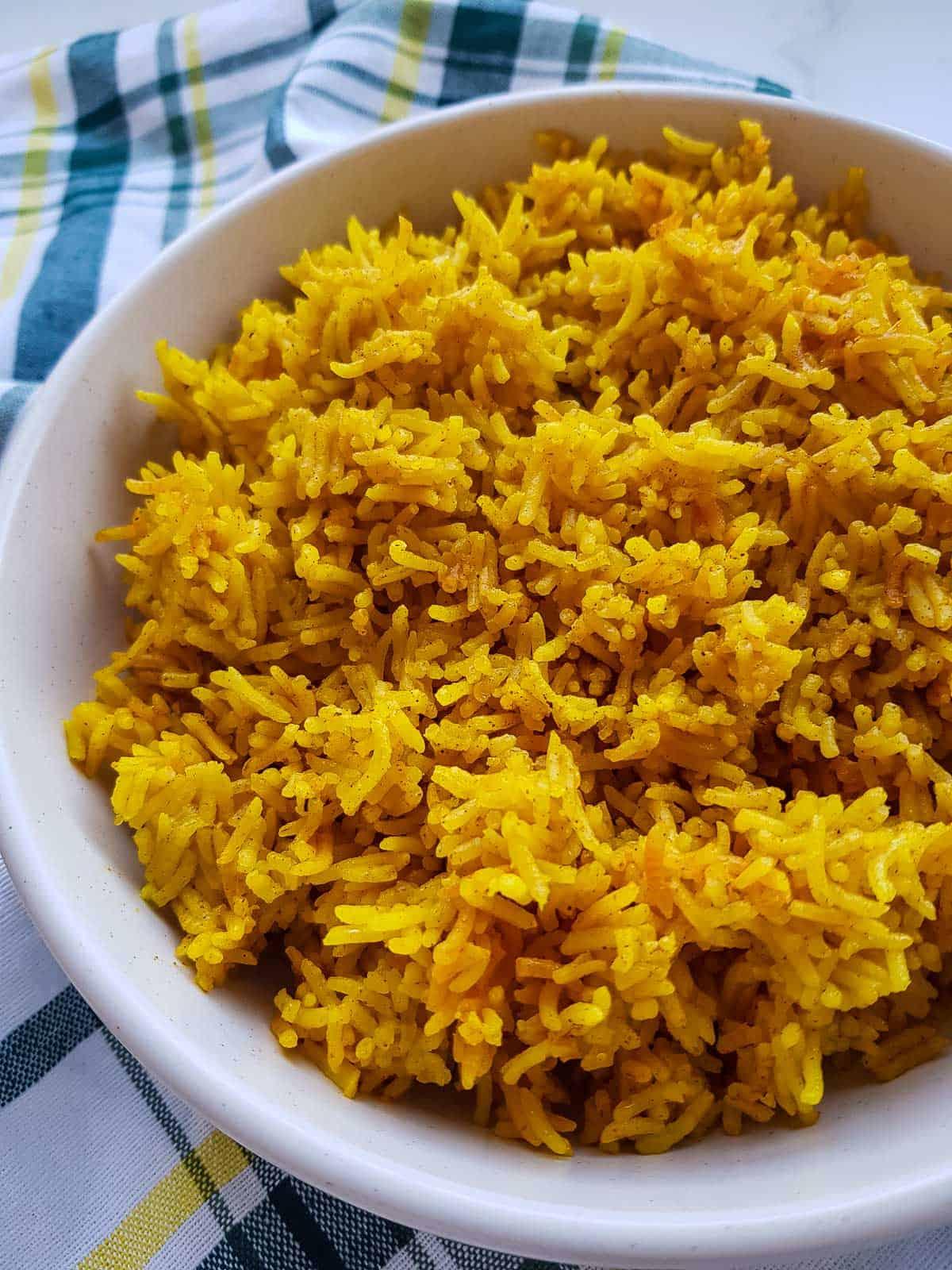 Close up of turmeric rice.