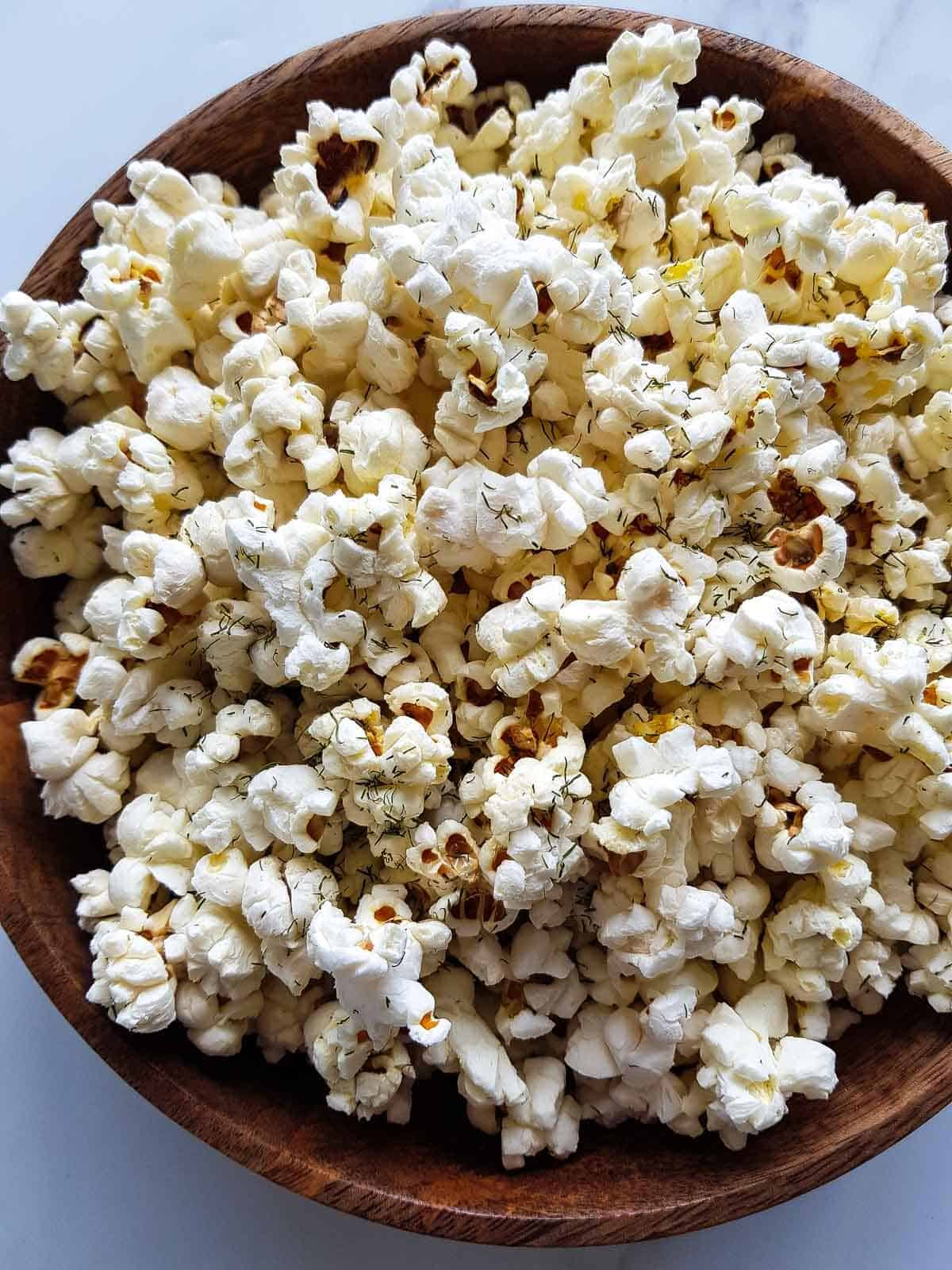 A close view of dill pickle popcorn.