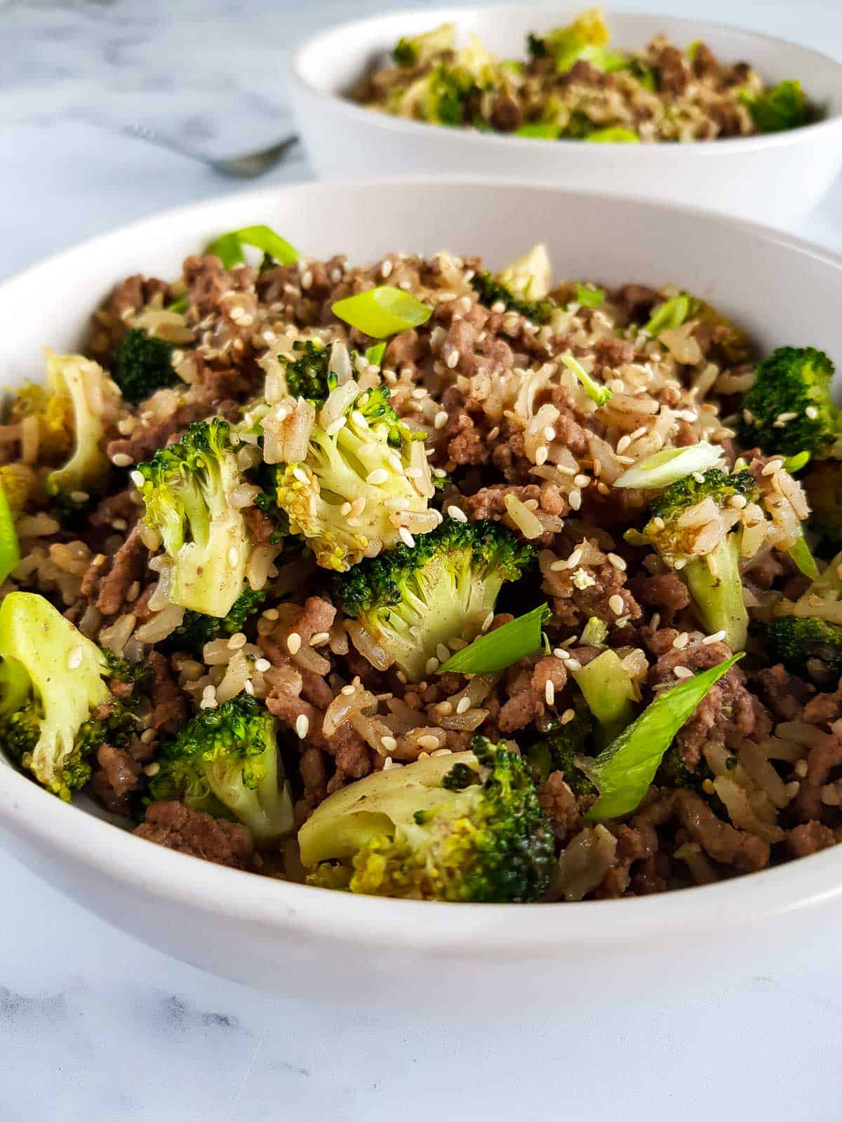 Close up of a bowl of ground beef and broccoli stir fry.