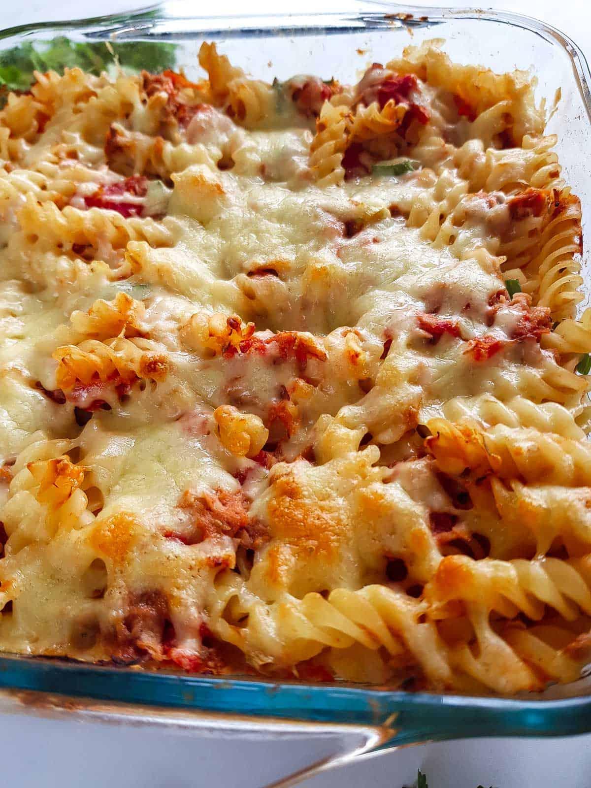 Close up of healthy tuna pasta bake.