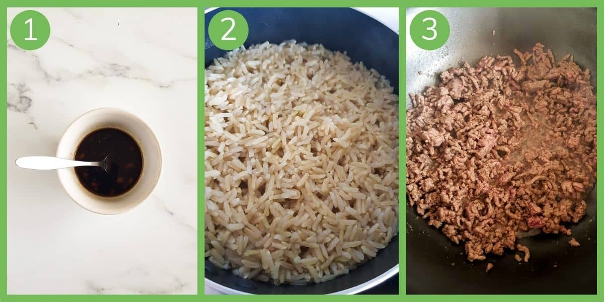 Step by step images showing how to make ground beef and broccoli.