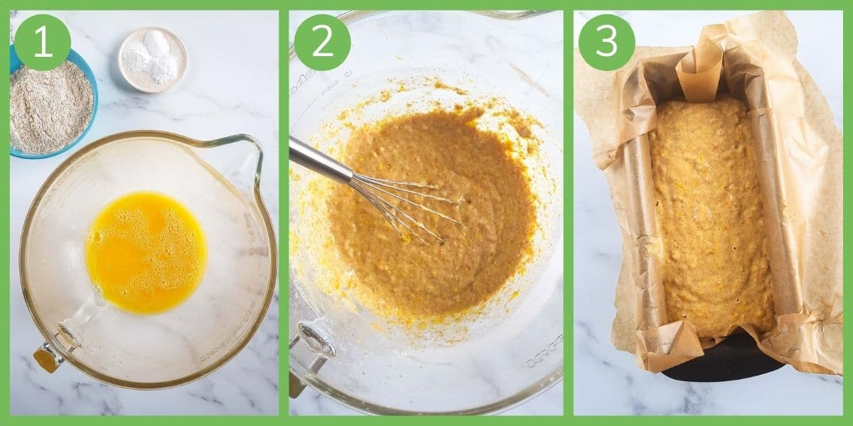 Step by step instructions showing how to make orange loaf cake.