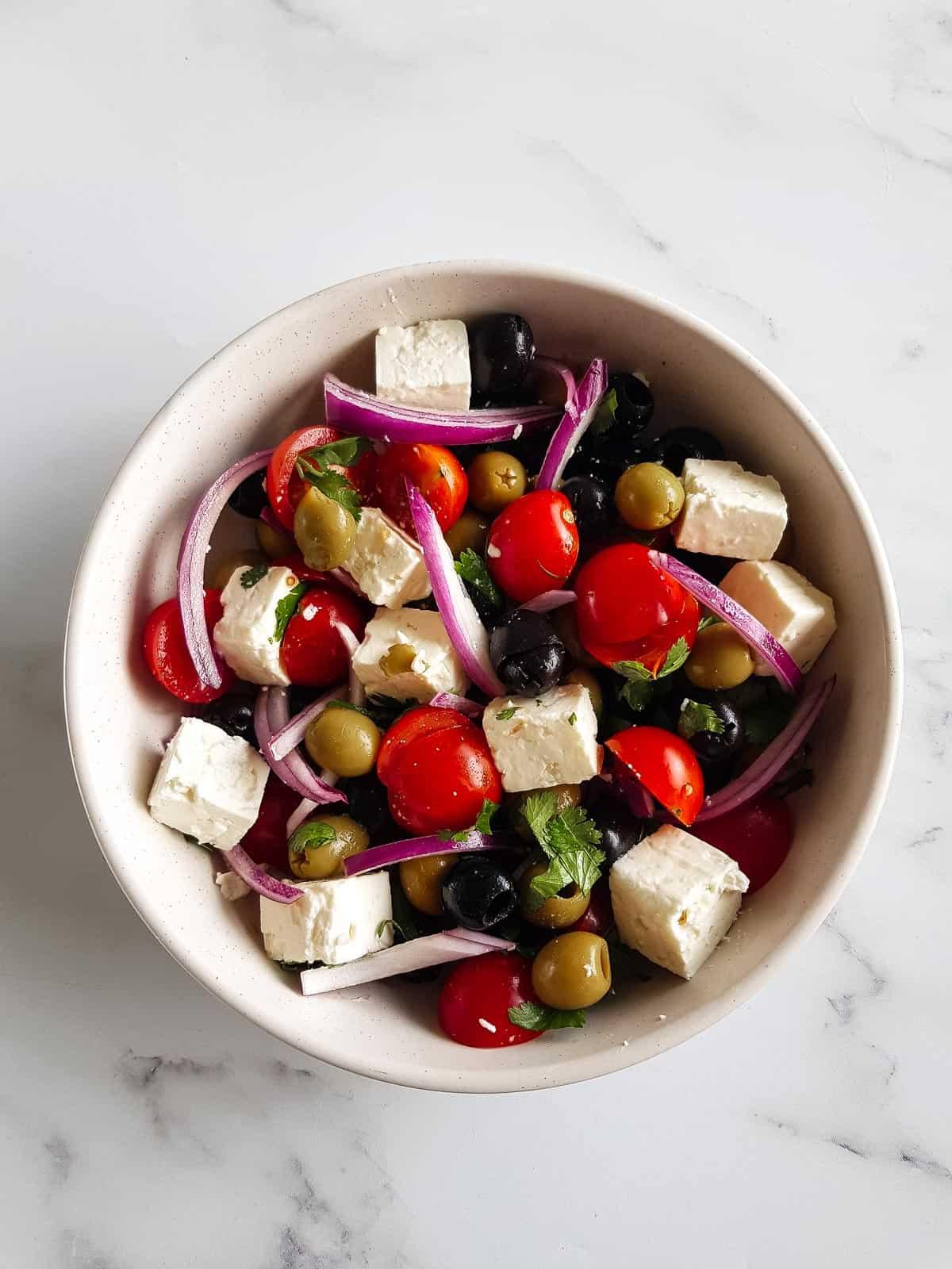 Mediterranean olive salad in a bowl.