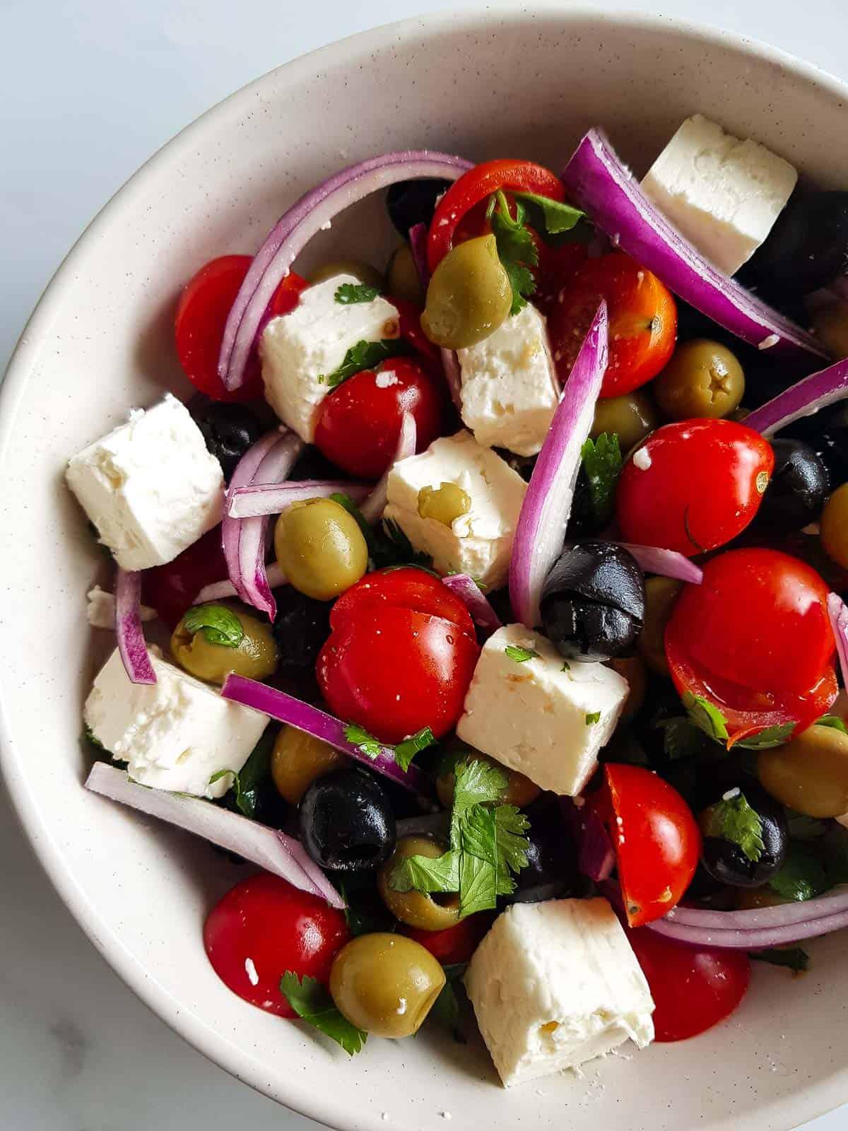 Mediterranean olive and feta salad.