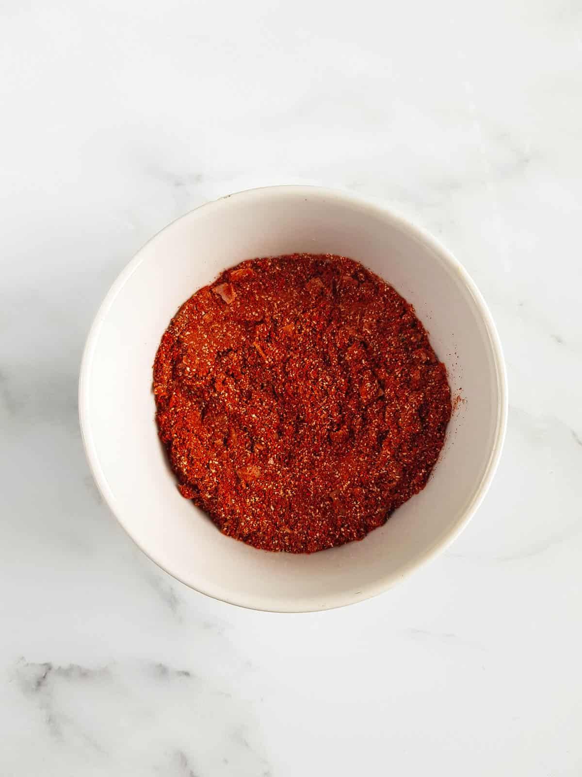 Smoked paprika pork rub in a bowl.
