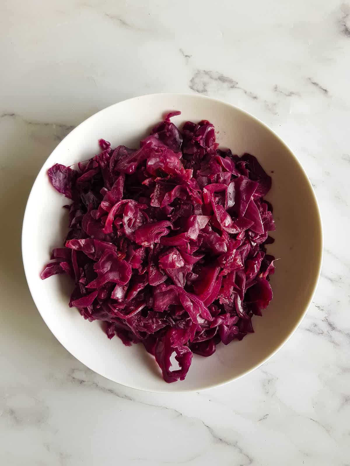 Slow cooked red cabbage in  a bowl.