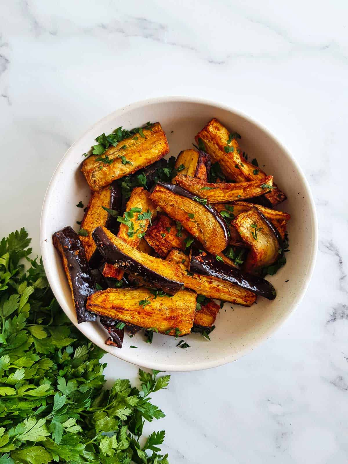 A bowl of air fryer eggplant.