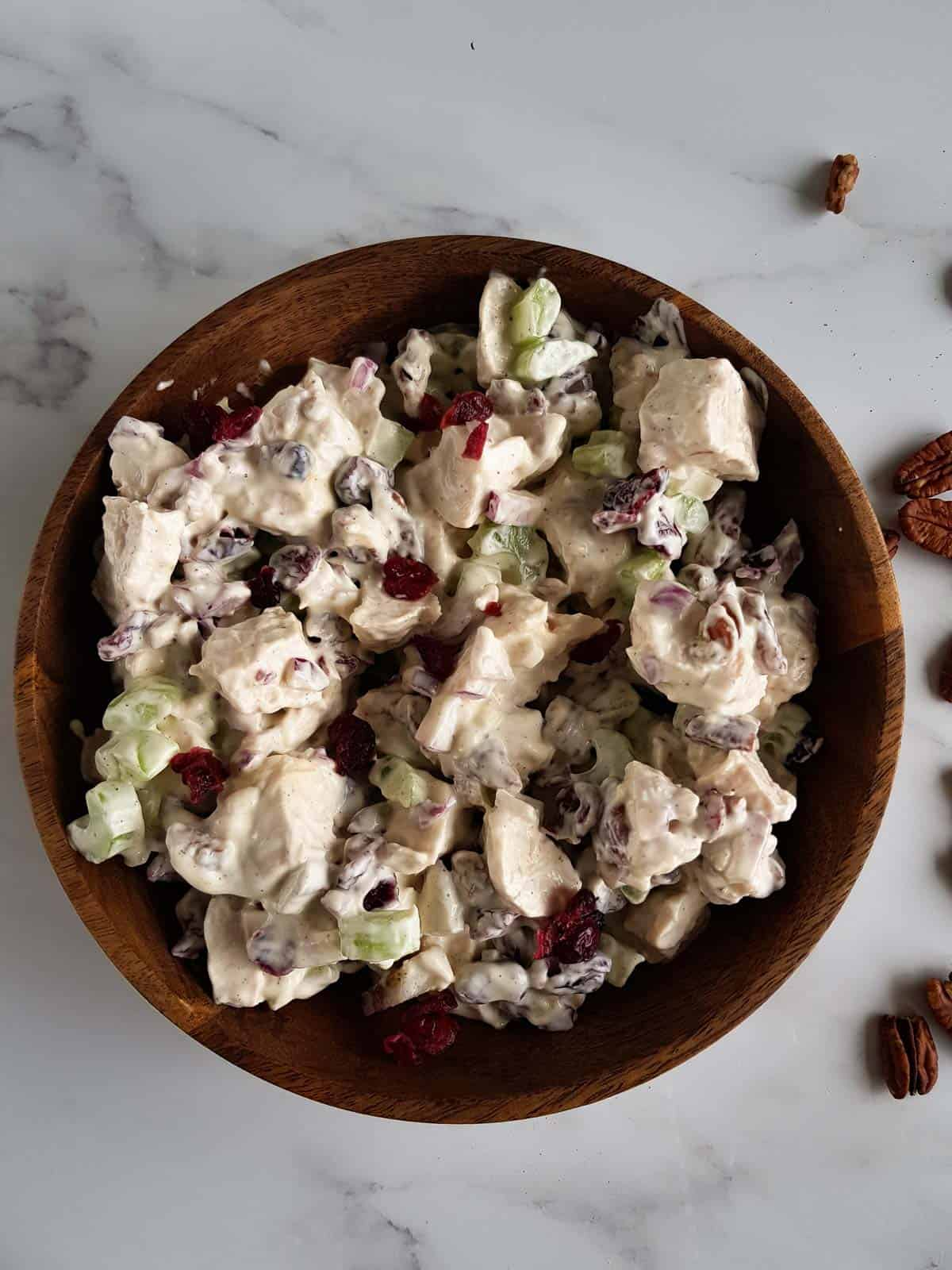 A bowl of chicken and cranberry salad.