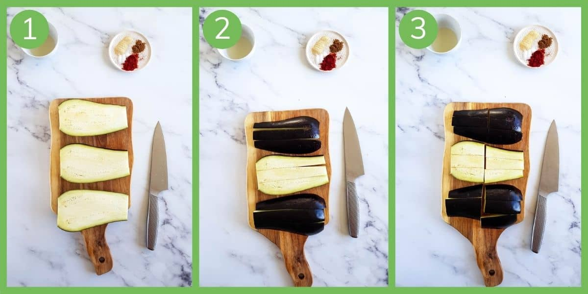 Step by step instructions showing how to cut eggplant fries.