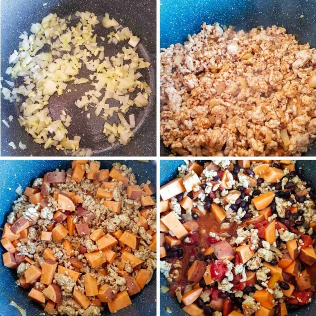 Step by step images showing how to make turkey sweet potato chili.