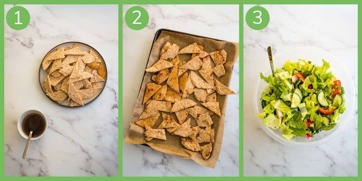 Step by step how to make Fattoush salad.