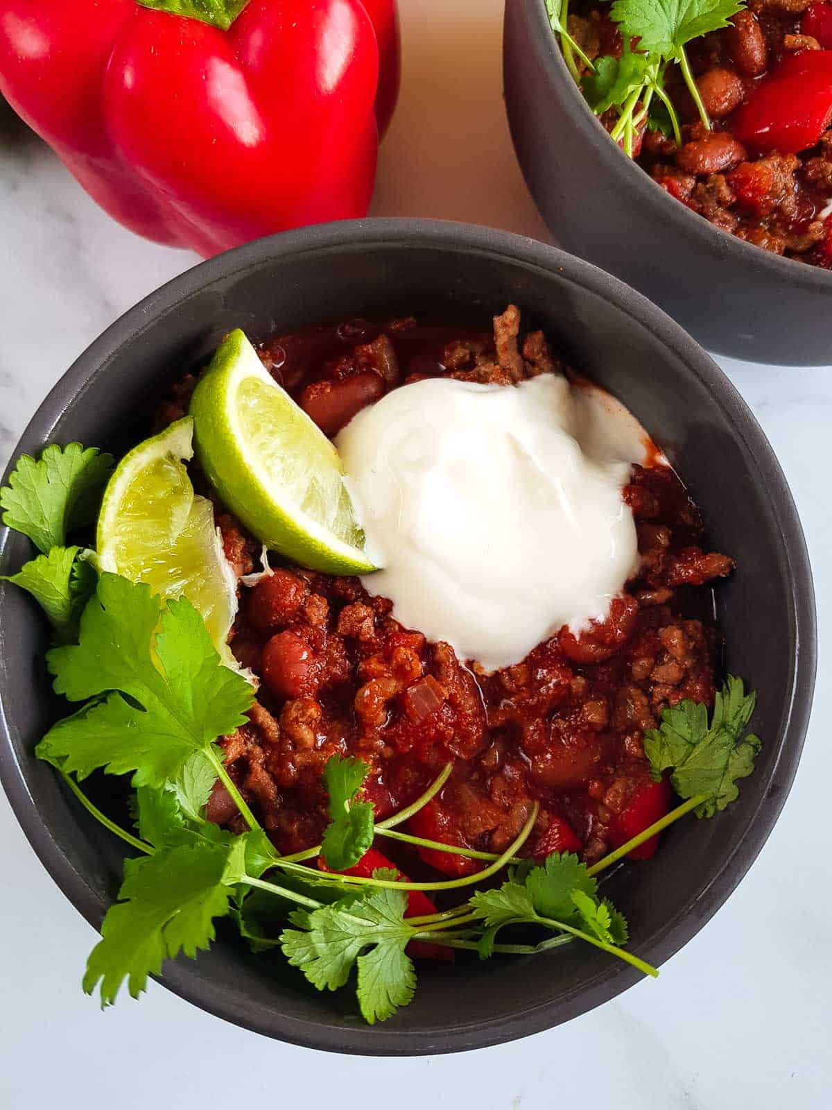 Close up of a bowl of slow cooker chilli con carne.