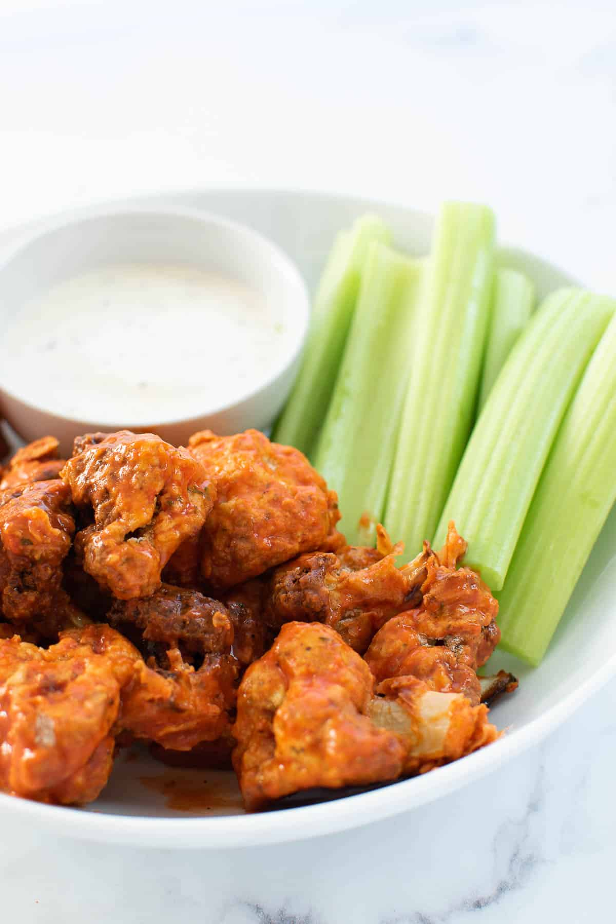 Buffalo cauliflower wings served with ranch.