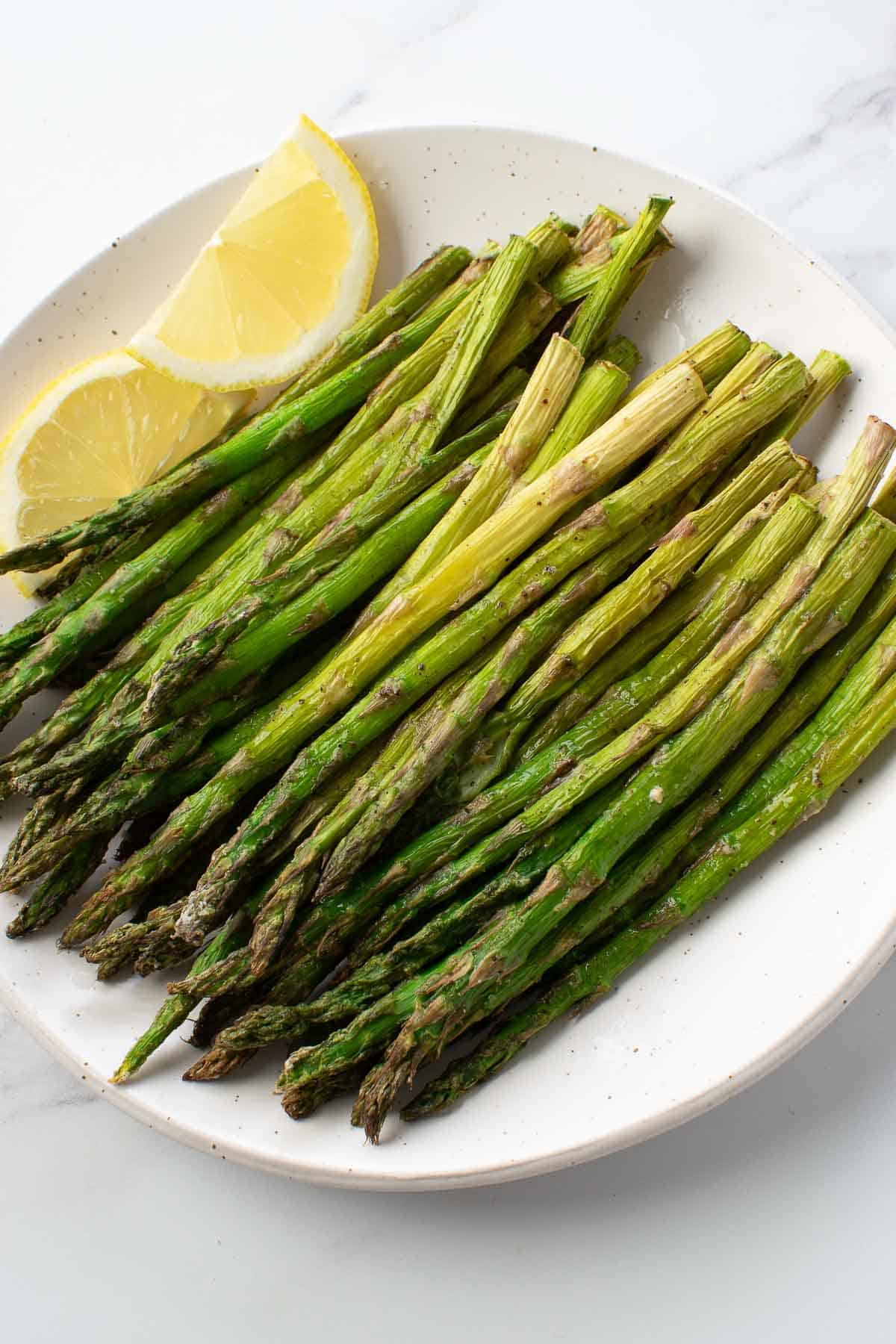 Asparagus cooked with lemon.
