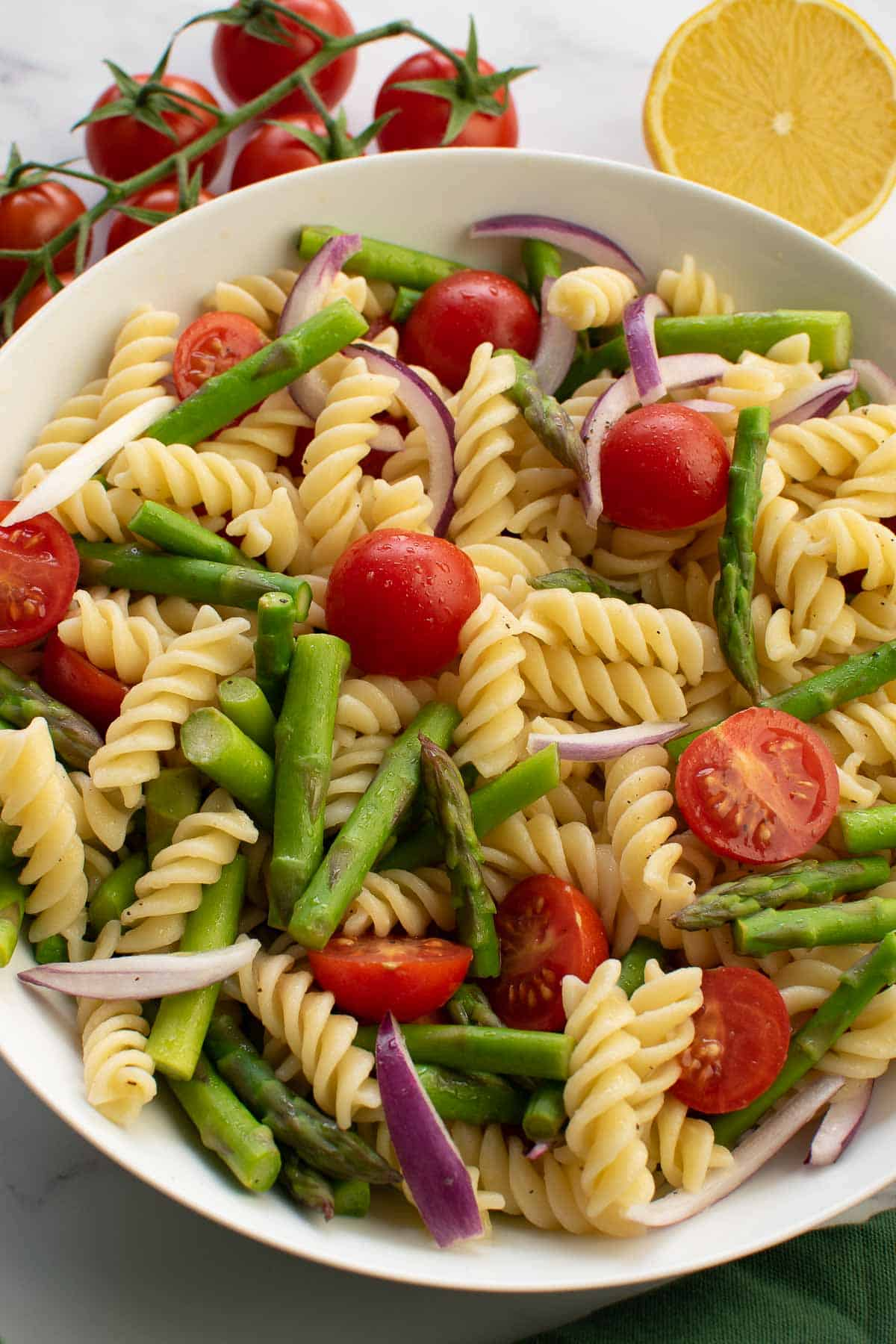 Asparagus pasta salad in a bowl.