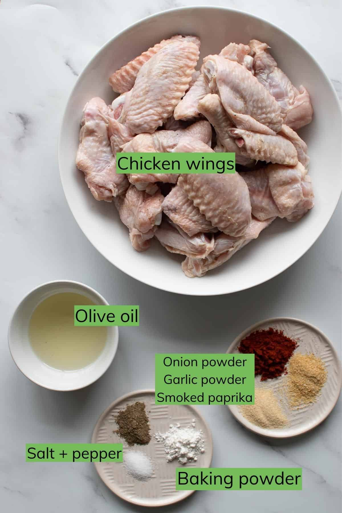 The ingredients you need to make BBQ chicken wings.