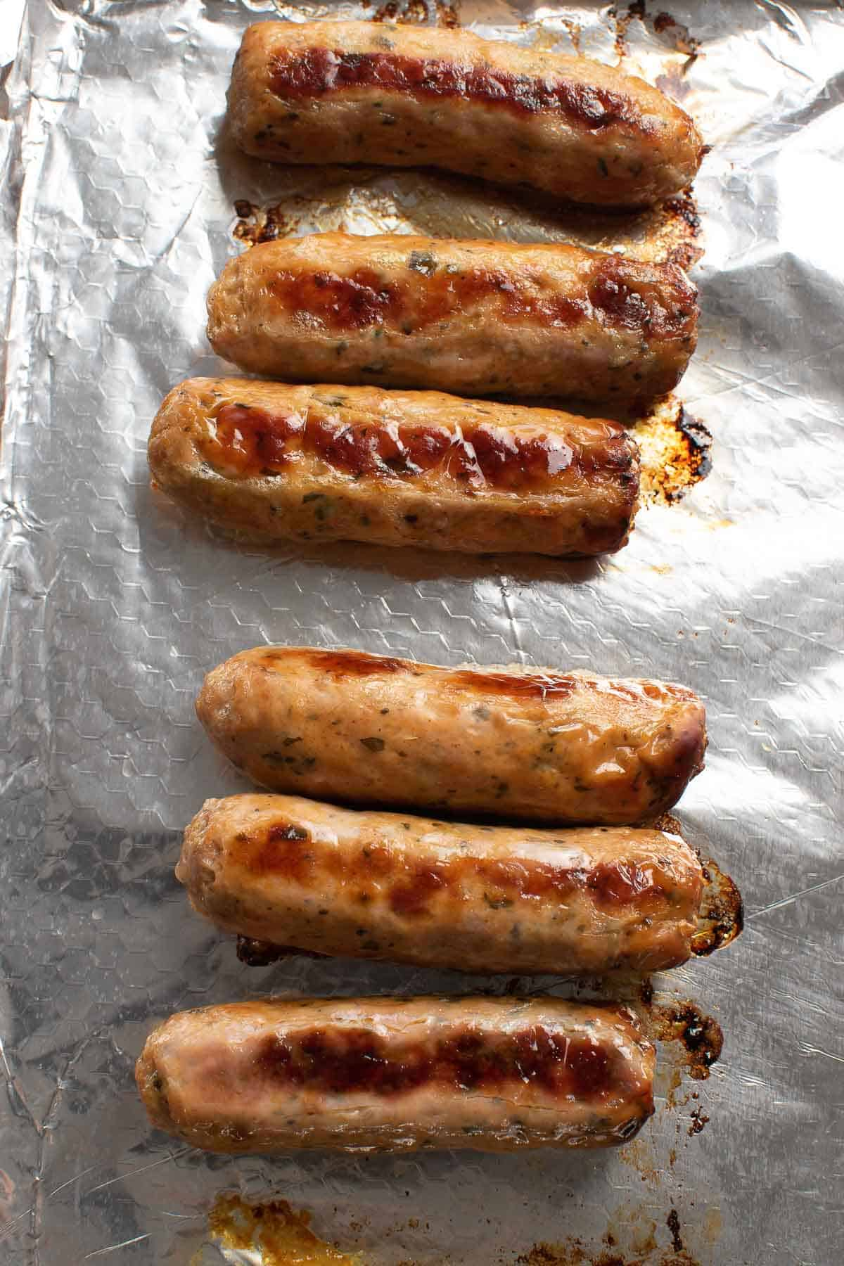 Baked Italian sausages.